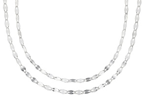 Sterling Silver Designer Flat Cable Chain Necklace Set 20 inch and 24 inch