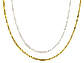 Sterling silver & 18k yellow gold over silver designer wheat chain necklace set