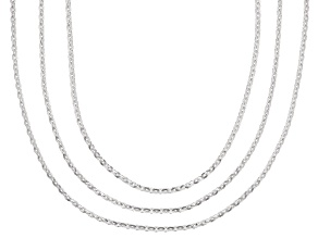 Sterling silver rolo chain necklace set