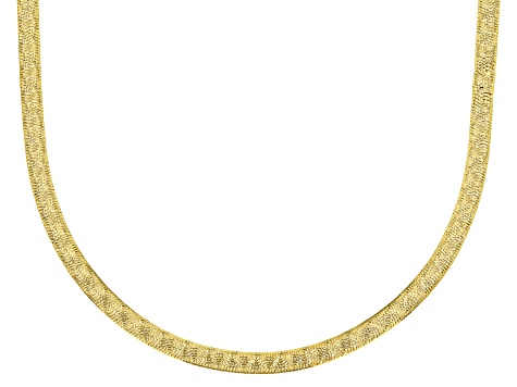 18k yellow gold sterling silver reversible designer herringbone necklace.