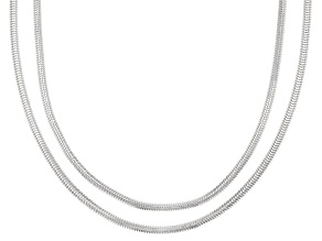 Sterling Silver Flex Flat Domed Snake Necklace Set 18, & 20 Inch