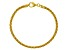 18K Yellow Gold Over Sterling Silver Round Wheat Link Bracelet 7.5 inch