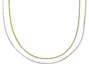 Sterling Silver & 18K Yellow Gold Over Silver Diamond Cut Square Snake Chain Necklace Set 18 Inch