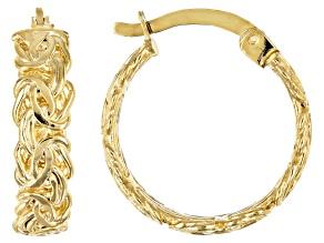 18K Yellow Gold Over Sterling Silver Byzantine Hoop Earrings