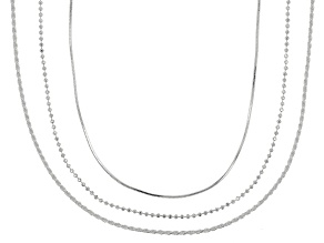 Sterling Silver Diamond Cut Rope, Snake, & Bead 24 Inch Adjustable Chain Necklace Set