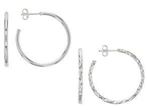 Sterling Silver 25MM Diamond Cut & Polished Hoop Earrings Set Of 2