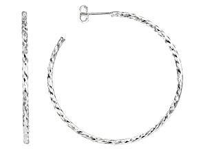 Sterling Silver Diamond Cut Tube Hoop Earrings