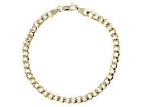 18k Yellow Gold Over Sterling Silver Curb 8 inch Bracelet