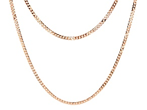 18k Rose Gold Over Sterling Silver Diamond Cut Curb 18 inch and 22 inch Chain Necklace Set of Two