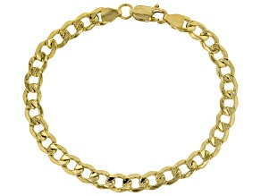 18K Yellow Gold Over Sterling Silver Curb Bracelet 8 Inch