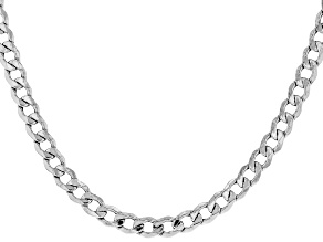 Sterling Silver Faceted Curb Necklace 24 Inch