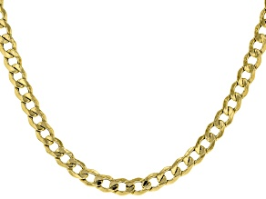 18K Yellow Gold Over Sterling Silver Curb Chain Necklace 24 Inch