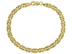 18K Yellow Gold Over Sterling Silver Designer Curb Bracelet 7.5 Inch