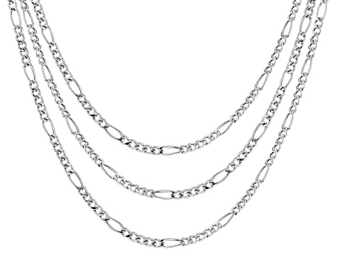 bd948a209bf7f Sterling Silver Designer Figaro Chain Necklace Set 18, 20, & 24 Inch
