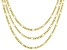 18K Yellow Gold Over Sterling Silver Designer Figaro Chain Necklace Set 18, 20, & 24 Inch
