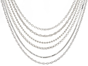 Sterling Silver Bead, Rolo, Box, Rope, Singapore, Link, 18 Inch Chain Necklace Set Of 6