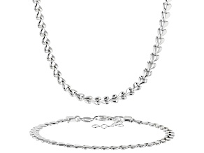 Sterling Silver Heart Necklace 16 Inch And Bracelet 7 Inch Jewelry Set.