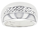 Sterling Silver Diamond Cut Center High-Polished Band Ring