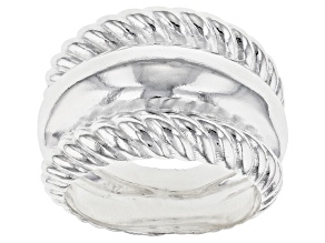 Sterling silver ribbon wide band ring