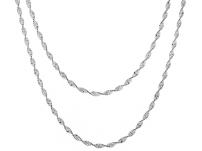 Sterling Silver Twisted Herringbone Chain Necklace Set 18 & 20 Inch