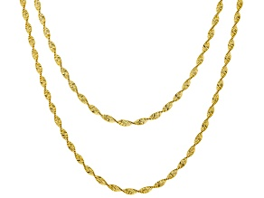 18K Yellow Gold Over Sterling Silver Twisted Herringbone Chain Necklace Set 18 & 20 Inch