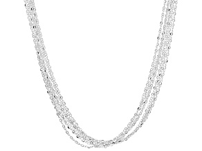 Sterling Silver 7 Strand Diamond Cut Cable Chain Necklace 20 Inch