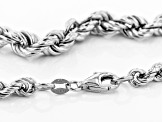 Sterling Silver Graduated Hollow Rope Chain Necklace 20 Inch