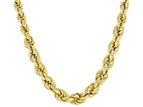 18K Yellow Gold Over Sterling Silver Graduated Hollow Rope Chain Necklace 20 Inch