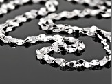 Sterling Silver 3-Strand Mirror Linked Chain Necklace 20 Inch