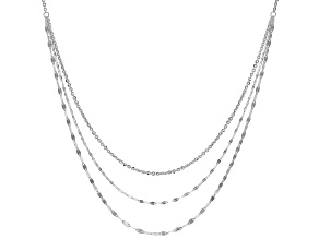 Sterling Silver Double Mirror And Link Chain Necklace 18 Inch With 2 Inch Extender