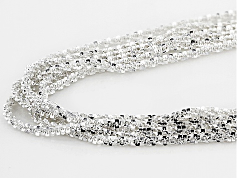 Sterling Silver 6 Strand Diamond Cut Criss Cross Chain Necklace 26 Inch With 4 Inch Extender