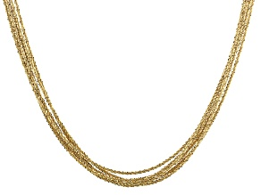18K Yellow Gold Over Sterling Silver 6 Strand Diamond Cut Criss Cross Chain Necklace