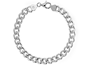 Sterling Silver Hollow Curb Bracelet 7.5 Inch