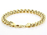 18k Yellow Gold Over Sterling Silver Hollow Curb Bracelet 7.5 Inch