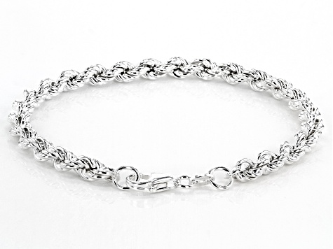 Sterling Silver Hollow Rope Chain Bracelet 7.5 Inch