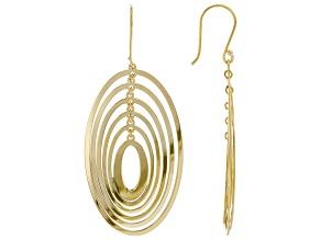 18K Yellow Gold Over Sterling Silver Oval Shape Drop Earrings