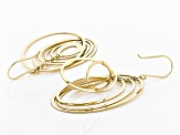 18K Yellow Gold Over Sterling Silver Oval Shape Drop Earrings