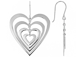 Sterling Silver 4 Dangle Heart Shape Design Earrings