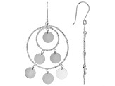Sterling Silver Polished And Diamond Cut Chandelier Style Dangle Earrings