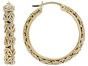 18K Yellow Gold Over Sterling Silver Byzantine Design Hoop Earrings