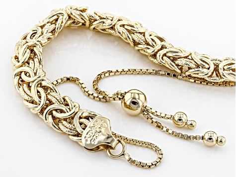 18K Yellow Gold Over Sterling Silver Textured And Polished Adjustable Byzantine Bracelet