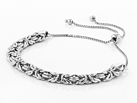 Sterling Silver Textured And Polished Adjustable Byzantine Bracelet