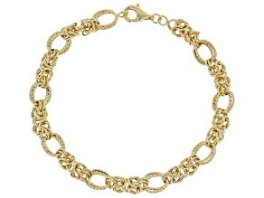 18K Yellow Gold Over Sterling Silver Diamond Cut And Polished Fancy Byzantine Bracelet 8 Inch