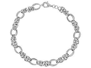 Sterling Silver Diamond Cut And Polished Fancy Byzantine Bracelet 8 Inch