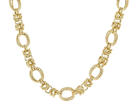 18K Yellow Gold Over Sterling Silver Diamond Cut And Polished Fancy Byzantine Necklace 18 Inch