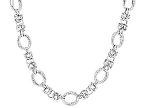 Sterling Silver Diamond Cut And Polished Fancy Byzantine Necklace 18 Inch