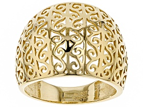 18K Yellow Gold Over Sterling Silver Scroll Design Wide Band Ring
