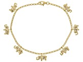 18K Yellow Gold Over Sterling Silver Elephant Design Dangle Bracelet 8 Inch