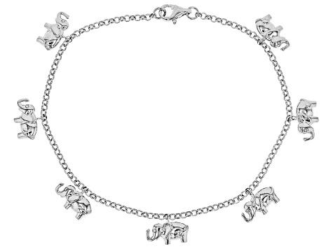 Sterling Silver Elephant Design Dangle Bracelet 8 Inch