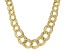 18K Yellow Gold Over Sterling Silver Graduated Textured Bold Curb Design Necklace 18 Inch